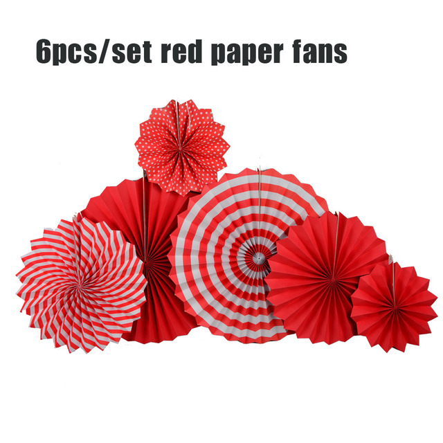 Diy 6pcs Red Yellow Set Hanging Paper Fans For Chinese New Year
