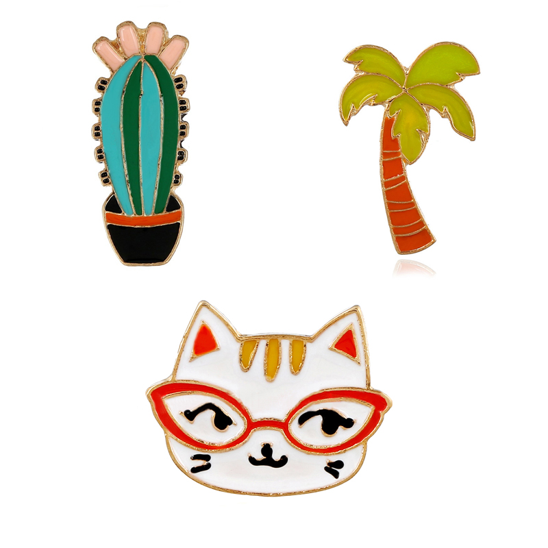 New Arrival Fashion Cute Cat Brooch Personality Tree Cloth Pin Special Design Women Jewelry Brooches Suit Lapel Pin Gift XS246