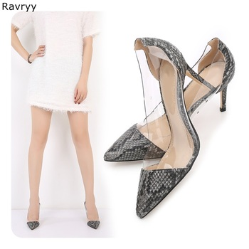 Gray Snakeskin Woman high heels Pointed Toe Sexy Pumps slip-on female dress shoes stiletto heels OL out fits elegant party shoes