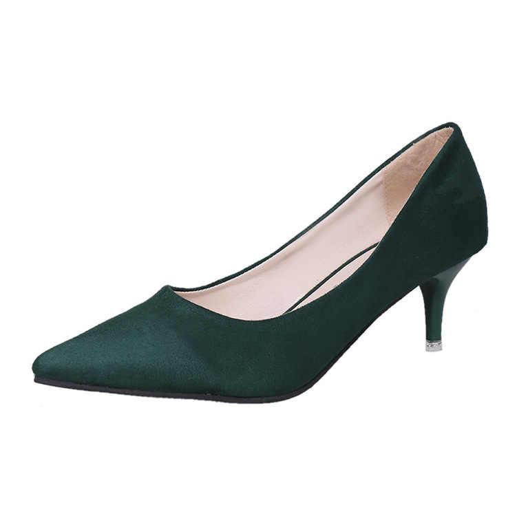 2019 г. весенне-осенняя Новая Европейская и американская простая Рабочая обувь с острым носком на высоком каблуке-шпильке