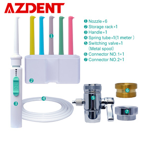 AZDENT 6pcs Nozzles Faucet Oral Irrigator Switch Water Dental Flosser Multi Single Jet Floss Implement Irrigation Tooth Cleaner