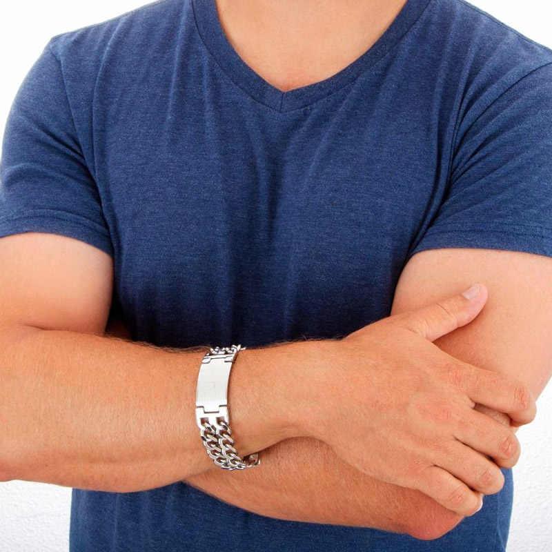 Jeździć bezpiecznie przystojny stal nierdzewna podwójna kuba link Chain Bracelet na prezent dla mężczyzny grawerowany laserem z 8.6 cala