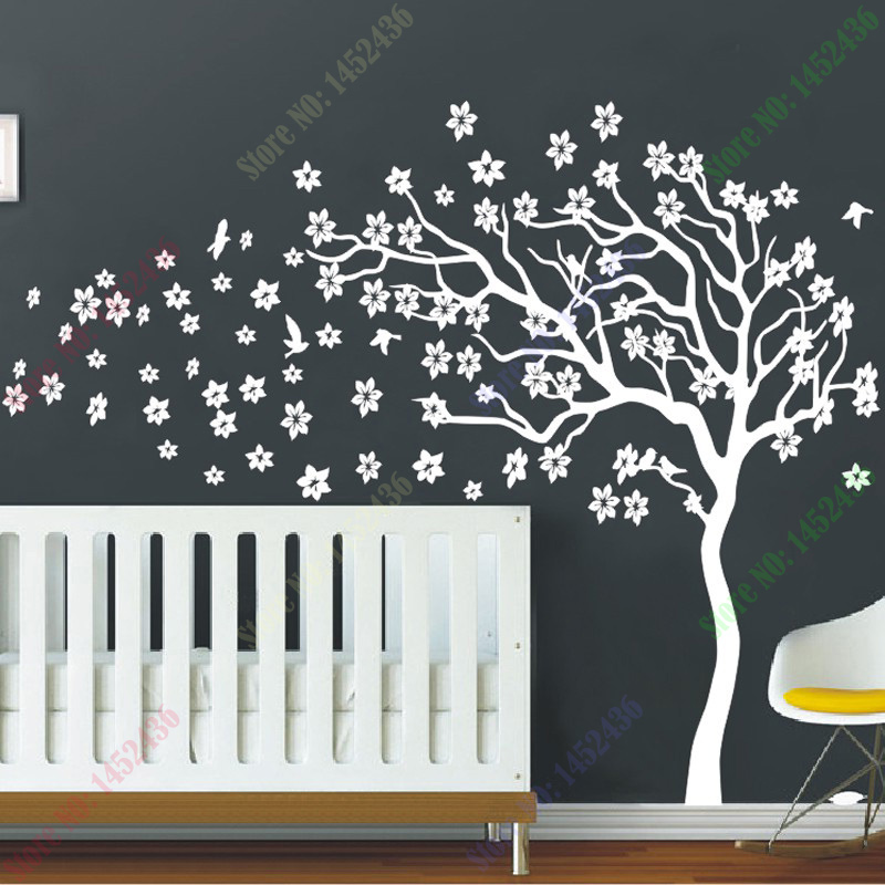 New Arrival Huge White Tree Flowers Wall Decal Nursery And Birds Art Baby Kids Room Sticker Nature Decor