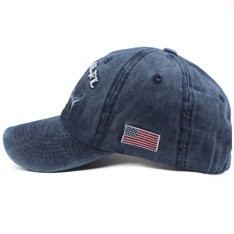 Topdudes.com - 100% Washed Embroidery Letter & Shark Retro Cotton Baseball Cap