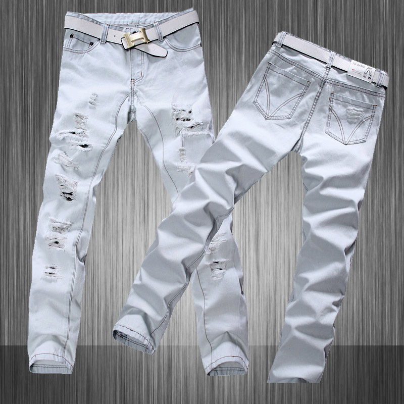 Stylish Hip Hop Men White Jeans Hommes Denim Mens White Distressed Biker Designer 2015 Men White