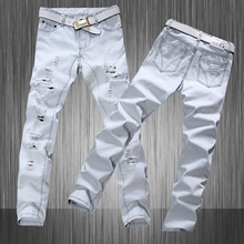 Stylish Hip Hop Men White Jeans Hommes Denim Mens White Distressed Biker Designer 2015 Men White Jeans Long Trousers Plus Size