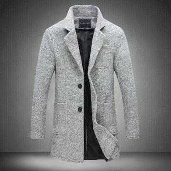 2018 nowe zimowe wełniane płaszcz mężczyźni rozrywka długie sekcje wełniane płaszcze mężczyźni Pure kolor Casual Fashion kurtki/casual mężczyźni płaszcz