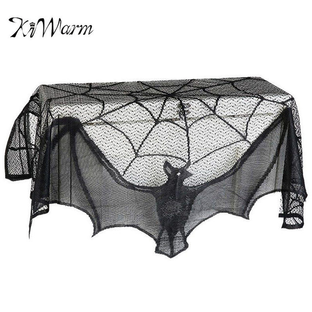 Attractive KiWarm Halloween Party Supplies Fireplace Mantle Scarf Cover 243cm Black  Lace Spiderweb Table Cloth For Halloween