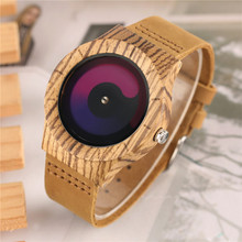 Blue/Purple Swirl Dial Wooden Creative Watches Men Casual Leather Strap