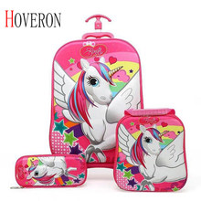 Kids Suitcase for Travel Luggage Suitcase for Girls Children Rolling Travel Luggage Bags School Backpack with Wheels Wheeled Bag(China)