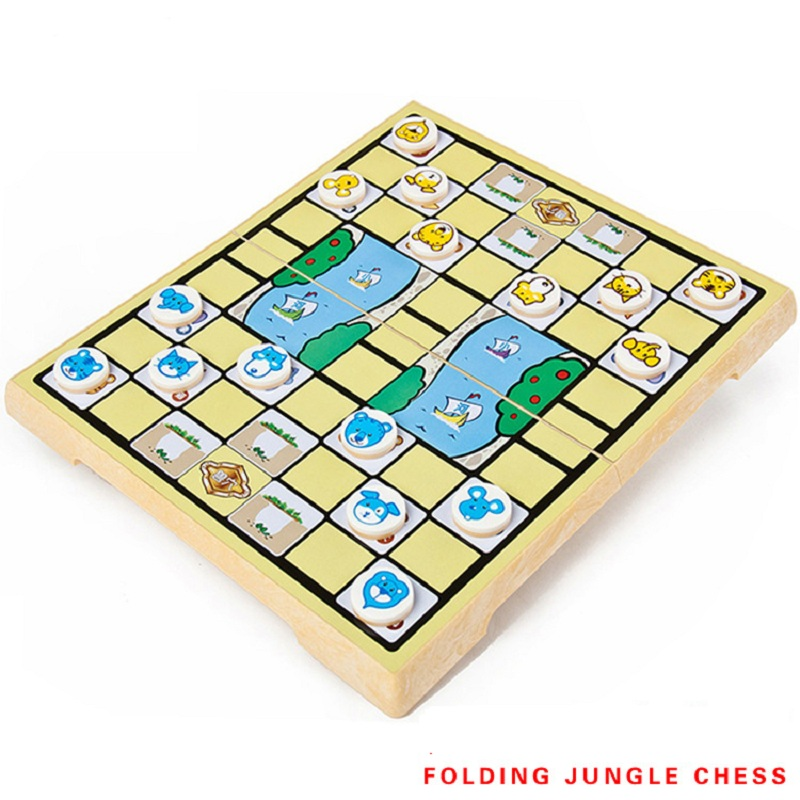portable Folding Animal Chess game /Safari Chess/Animal craft/Jungle chess games educational board game for kids children toy ...
