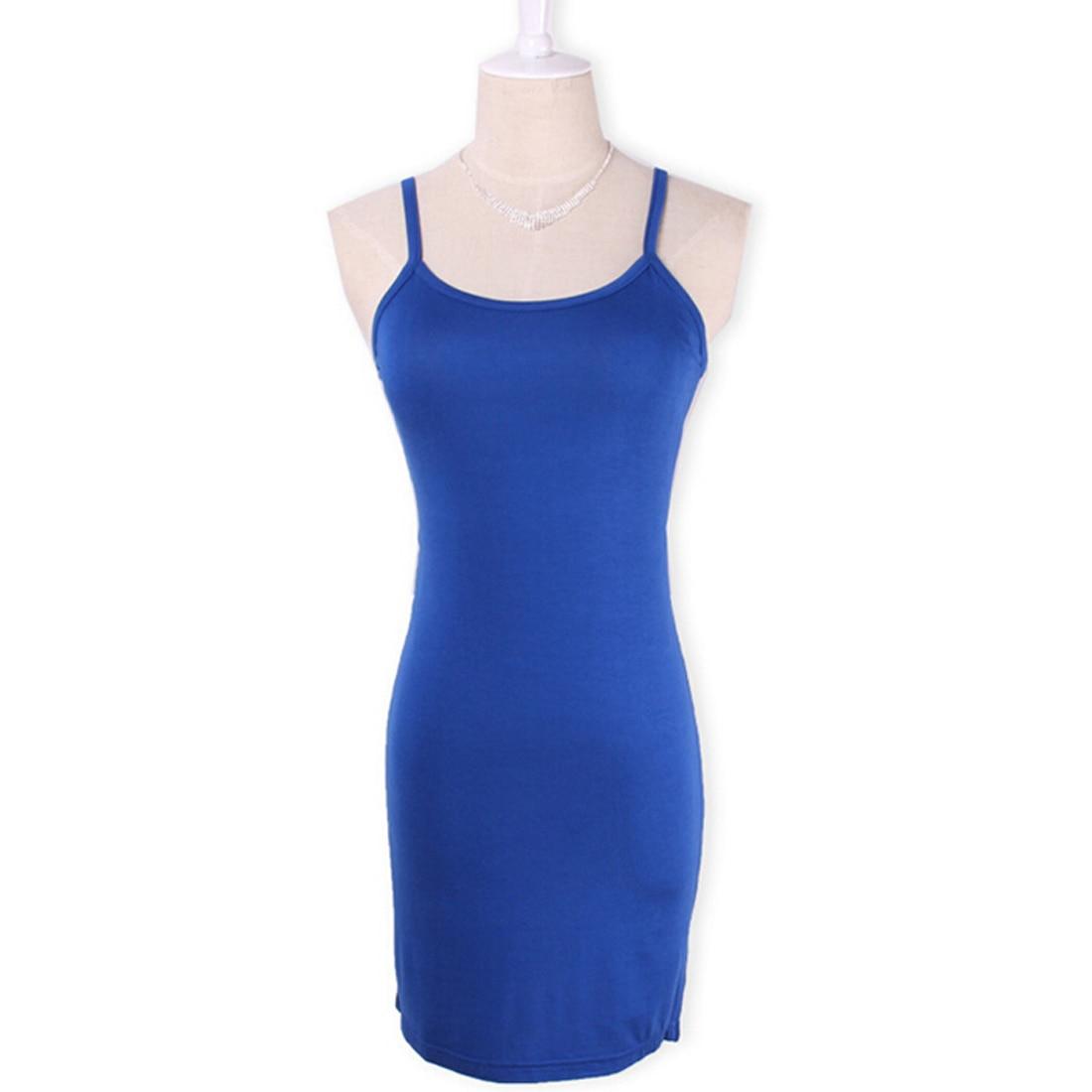 Новинка, Женская эластичная кофточка на бретельках, Длинный топ на бретелях, Мини Короткое платье, летнее повседневное сексуальное платье без рукавов для женщин - Цвет: royal blue