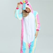 Здесь можно купить   Light Pink Rainbow Unicorn Pajama Womens Winter Hooded Pajamas Set Home Sleepwear Long Sleeves Onesies Adult Unicornio Pijama Women
