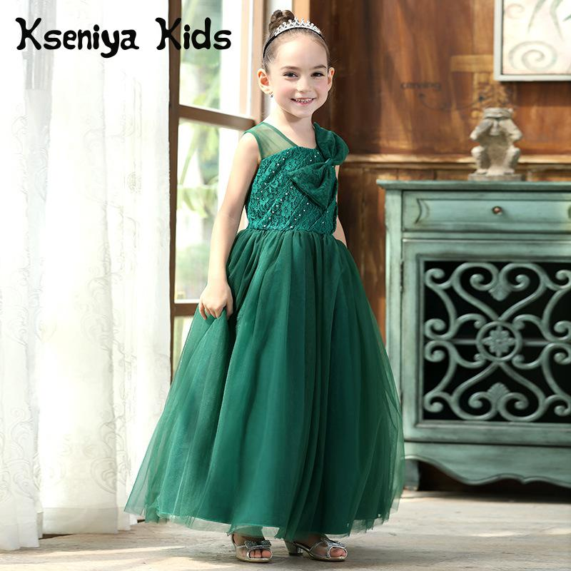 kseniya kids 2018 Spring Summer New Children's Lace Princess Mesh Lace Sleeveless Big Girl Long Dress Party Wedding Dress kseniya kids 2018 spring summer new children s clothing lace princess mesh lace sleeveless girls dresses for party and wedding