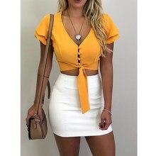 Chiffon V-Neck Ruffles Sexy Shirt Women Solid Short Sleeve Buttons Crop Tops Yellow Holiday Beach Summer Blouse