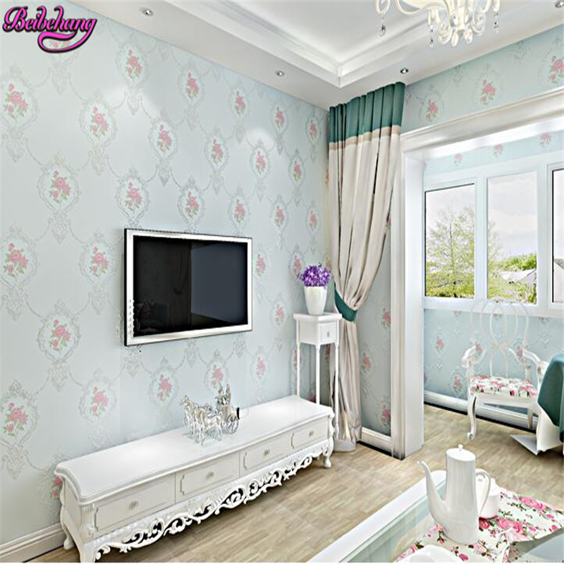 beibehang wallpaper European non woven pastoral flower relief three bedroom full house background papel de parede wall paper