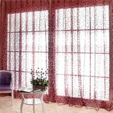 Window Curtain Flocking Floral Pattern Voile Curtain Window Panel 6.56ft x 3.28ft vintage floral pattern velveteen panel waistcoat