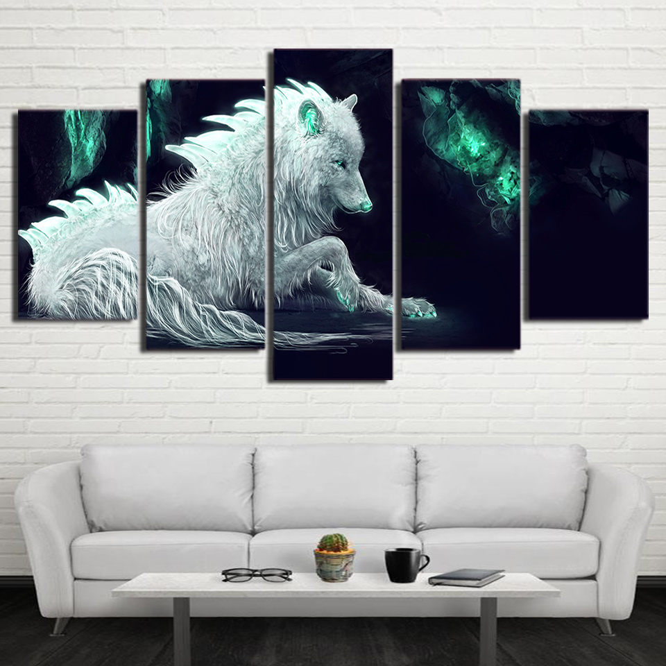 Abstract Modular Framework 5 Piece White Wolf Canvas Painting Green Glowing Wall Posters And Prints Cuadros Decoration Pictures