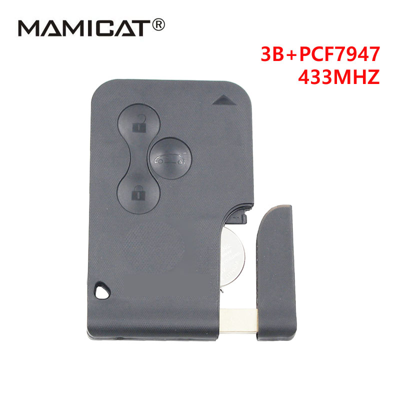 Free Shipping (5pcs/lot) 3 button Smart Car for Renault Megane Smart key with PCf7947 chip and Emergency Key 433MHZ