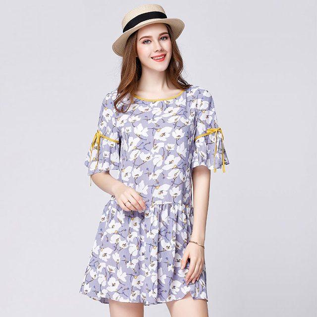 2017 летом женщины напечатаны dress профессиональный большой размер xl-5xl sn9620