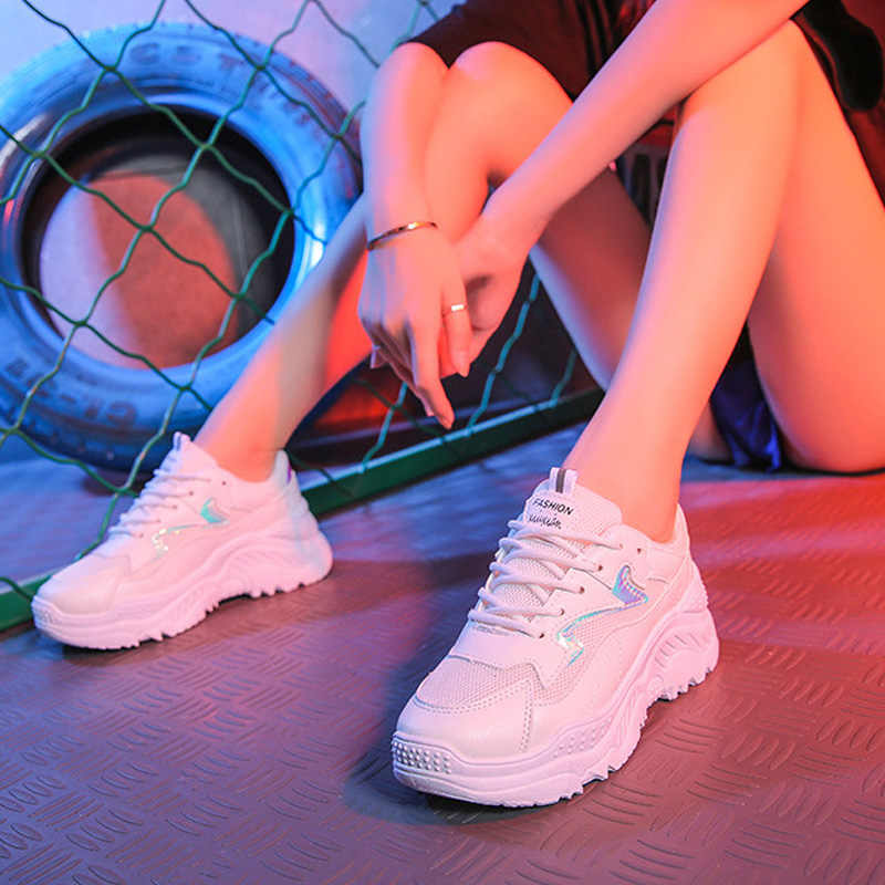 2020 Women Shoes Autumn White Shoes Sneakers Women Fashion Brand Retro Platform Shoes Ladies Footwear Breathable Mesh Sneakers