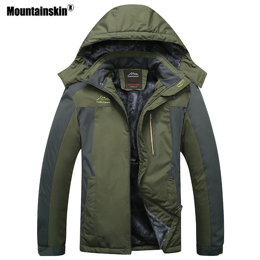 Mountainskin Для мужчин Зимний руно Термальность Куртки Спорт на открытом воздухе Ветровка Пеший Туризм походы кемпинг плюс Размеры 9XL пальто VA296