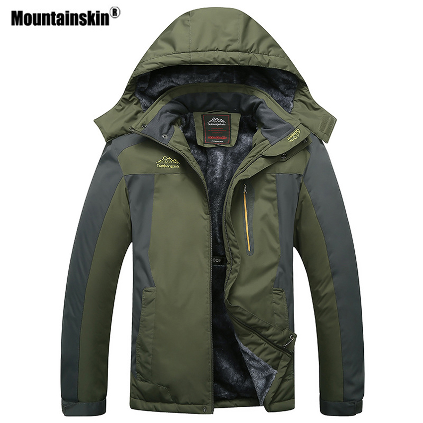 Mountainskin Men's Winter Fleece Thermal Jackets Outdoor Sports Windbreaker Hiking Trekking Camping Plus Size 9XL Coat VA296