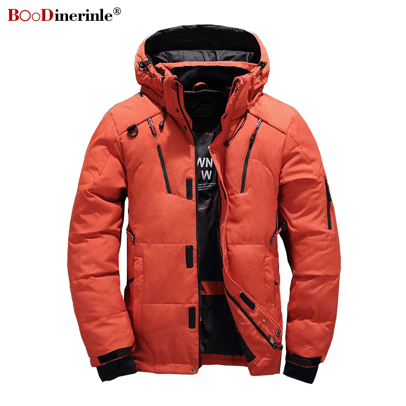 Winter Men's   Down   Jacket Short Casual Slim Youth Men's Jacket Male Oversize Hooded Thicken Warm White Duck   Down     Coat   YR171