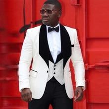 Colorful African Nigeria Mens Wedding Suit Groom Tuxedo Jacket+Pants+Vest 3 Pieces for
