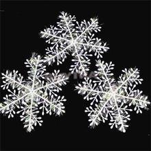30pcs/lot 11cm Christmas Ornament White Plastic Christmas Snowflake Tree Window Christmas Decorations For Home