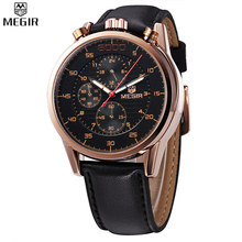 MEGIR Men Chronograph Waterproof Multifunction Watch Famous Brand Luxury Leather Watches Military Watch Relogio Masculino