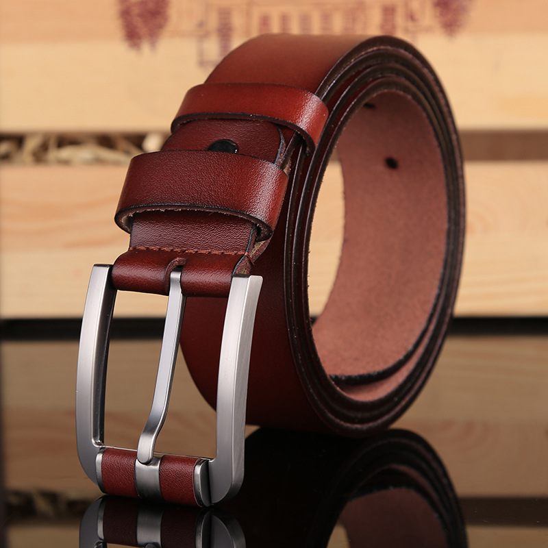 2019 Hot Sale Brand New Pin Buckle Belt Luxury Leather Belts For Men Cowboy High Quality Waist Strap Size 120 Cm Jeans Coffee