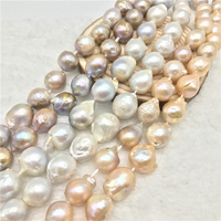 1 Strand 15 inch Pearl Loose Beads Big Cultured Natural Baroque Pearl for Jewelry Making and Jewelry Diy