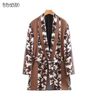 Vintage Stylish Floral Print Plaid Patchwork Blazers Coat Women 2019 Fashion Long Sleeve Outerwear Casual Casaco Femme