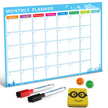 Magnetic Whiteboard Dry Erase Board Magnets Fridge Refrigerator To-Do List Monthly Daily Planner Organizer or Kitchen good habit