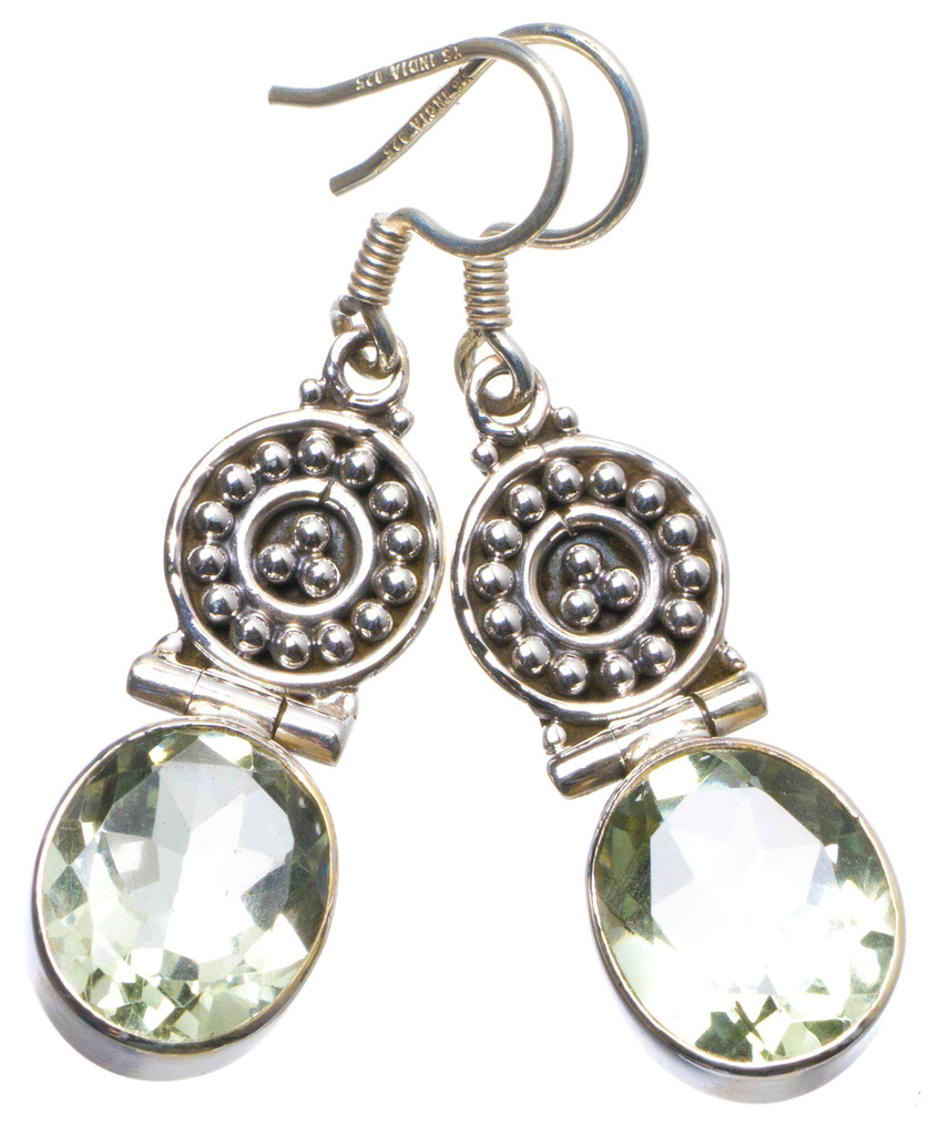 цены Natural Green Amethyst Handmade Unique 925 Sterling Silver Earrings 1.75
