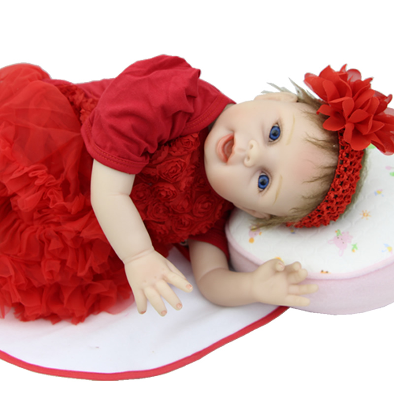 Limited Collection Cloth Body 22 Inch Reborn Doll Girl Lifelike Silicone Newborn Babies Dolls With Red Dress Kids Birthday Gift cloth body 22 inch baby doll reborn silicone lifelike newborn babies alive princess dolls with i love mummy dress kids playmate