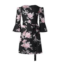 Summer Spring Sexy off Shoulder Women Dresses Floral Printed Half Flare Sleeve Kimono Lace up Slim