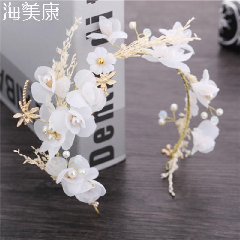Haimeikang Bride Wedding Tiara Full Of Stars Dried Flowers Headwear Wedding Accessories Headband Garland Romantic Party