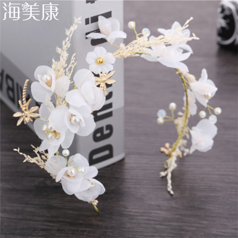 Haimeikang Bride Wedding Tiara Full Of Stars Dried Flowers   Headwear   Wedding Accessories Headband Garland Romantic Party