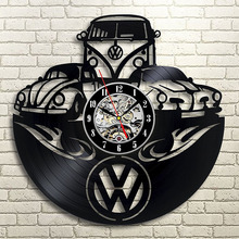 Wolksvagen CD Record Wall Clock Round Hollow Vinyl Creative Reocrd Hanging Antique  LED Light