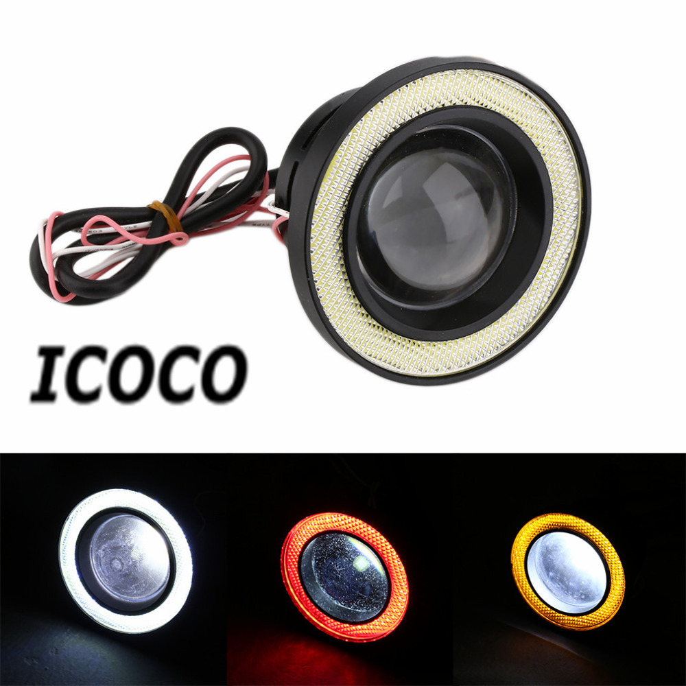 ICOCO 3.5 inch 30W COB Angel Eyes Fog Lights Projector Car Styling LED COB Fog Lamp Daytime Driving Lamp DRL Super Bright Hot hot selling 360 degree cob led devil eyes headlights demon eye for 3 0 inch car headlight projector lens ring car styling