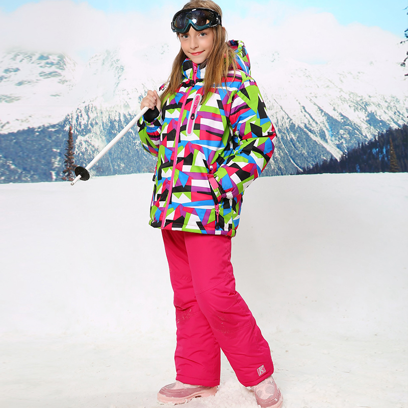 Russian Winter Girls Ski Suit Outdoor Windproof Waterproof Girl's Floral Ski Jacket+Bib Pants 2pcs Set russian winter children ski suit windproof outdoor girls ski jackets bib pants 2pcs girls clothing set for 2 7 years