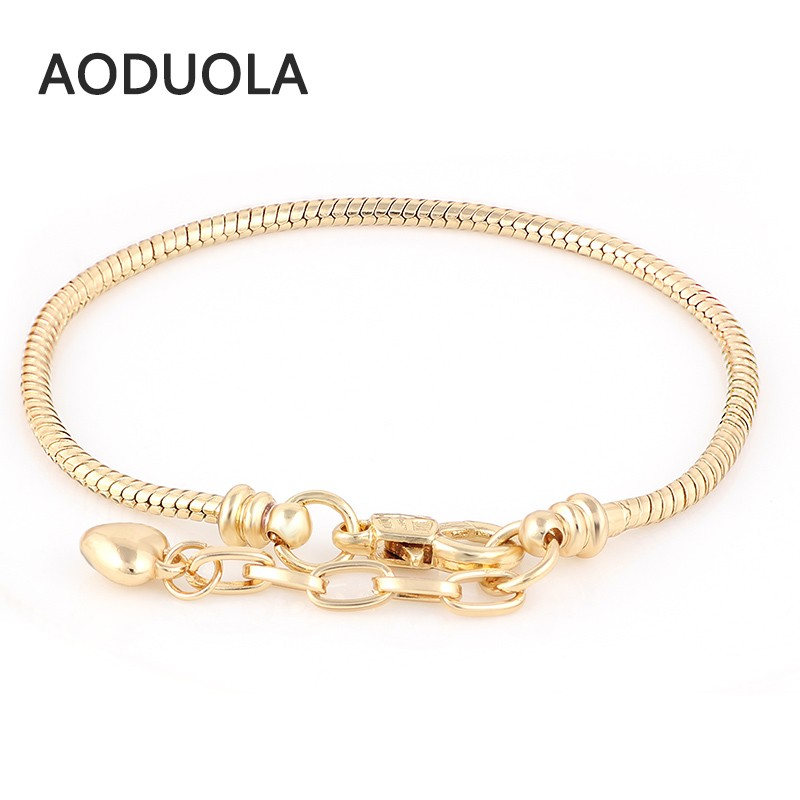 DIY  Bracelets  Gold Snake Chain Chamilia Fit For charms Bracelet Valentine's Day Gift For Men Women Big Hole Beads