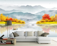 Custom New Wallpaper New Chinese Ink Painting Mood Painting Gold Tree Background Wall Murals Papel De