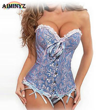 AIMINYZ Gothic Corset Vintage Satin Steampunk Top Clothing Women Lace Up Gorset Overbust Corsets Bustier Burlesque Costumes