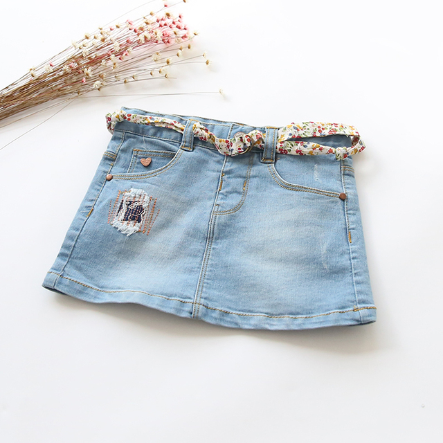 New Arrival Baby Girls Fashion Denim Skirts Girls Mini Cute Bud Skirt Kids All-match Denim Skirts With Belt