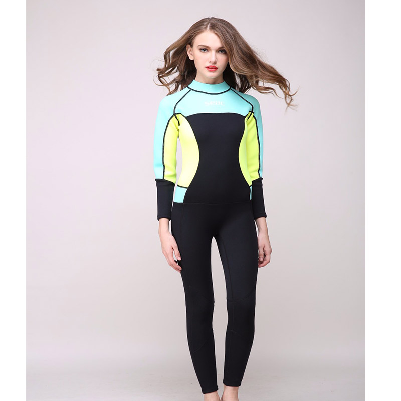 One-piece Women's 3mm Neoprene Long Sleeved Keep Warm Wetsuit Scuba Diving Wet Suit Swimming Diving Surfing Snorkeling suit women 1 5mm neoprene professional heated wetsuit vest one piece sleeveless swimming diving vest surfing snorkeling wetsuit