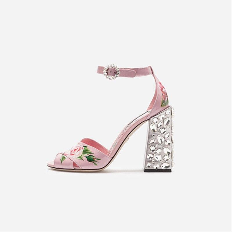 Marque de mode designer chaussures fleur impression bride à la cheville gladiateur sandales cristal haute talons rose parti de mariage chaussures femme