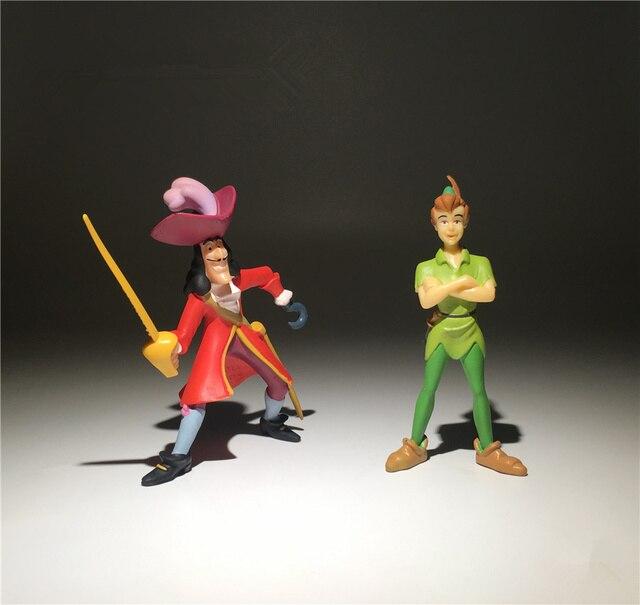 2 peças/lote 9cm jack e o pirata neverland peter pan ação figura brinquedos coleção brinquedo